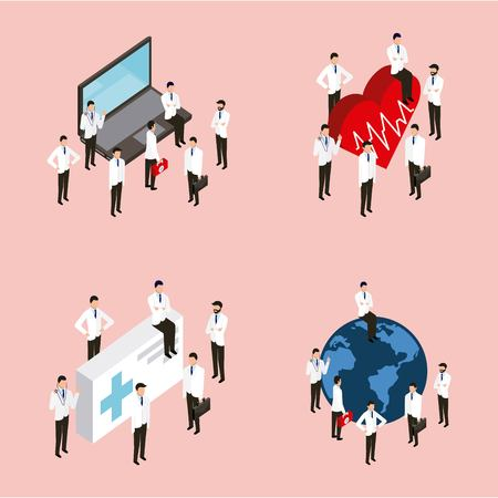 medical health heart life pulse worl form and computer vector illustration