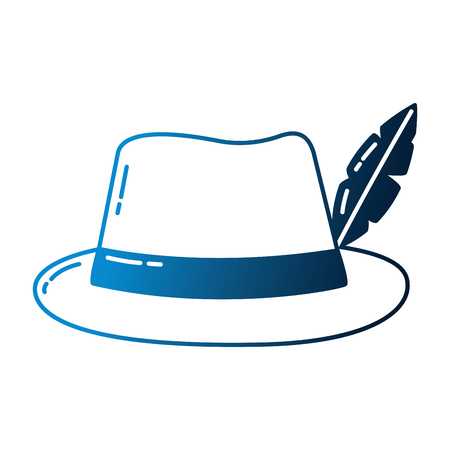 classic hat with feather fashion vector illustration neon