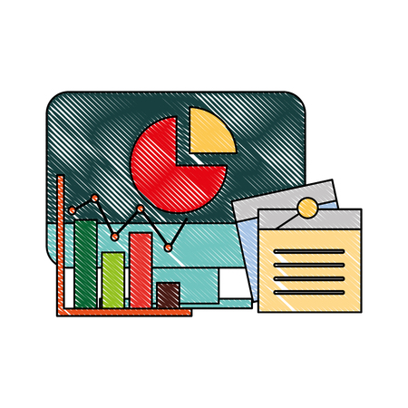 computer business chart note memo vector illustration Illustration