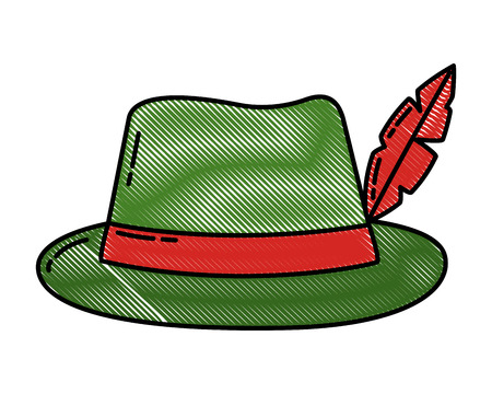 classic hat with feather fashion vector illustration Illustration