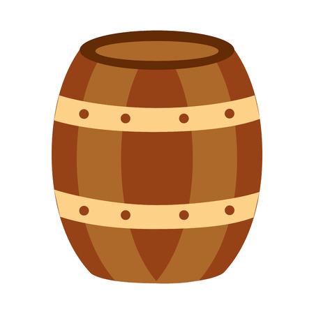 wooden barrel drink liquor rustic vector illustration