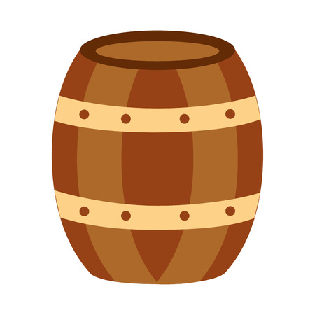 wooden barrel drink liquor rustic vector illustration