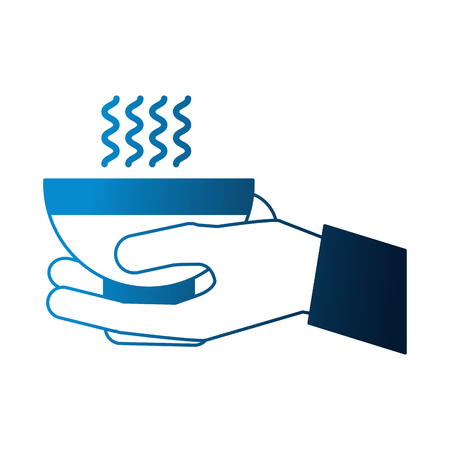 hand holding coffee cup hot beverage vector illustration neon