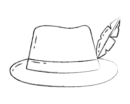 classic hat with feather fashion vector illustration Illusztráció