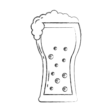 beer glass foam drink celebration vector illustration