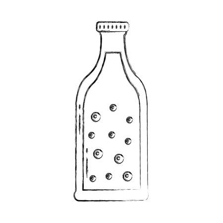 beer bottle drink alcohol bubbles vector illustration