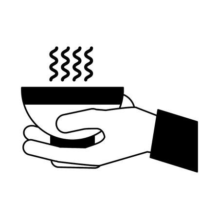 hand holding coffee cup hot beverage vector illustration Ilustração