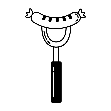grilled sausage on fork food vector illustration