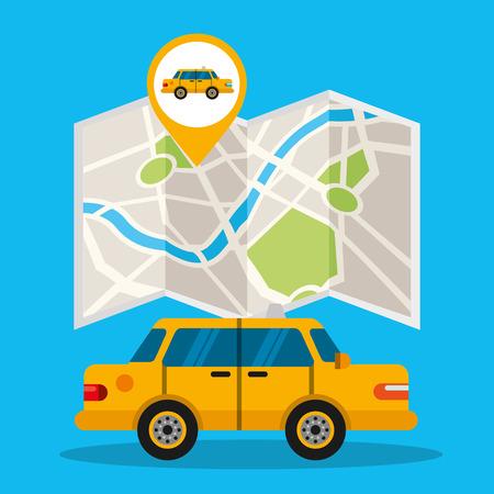 gps navigation transportation taxi location map guide vector illustration