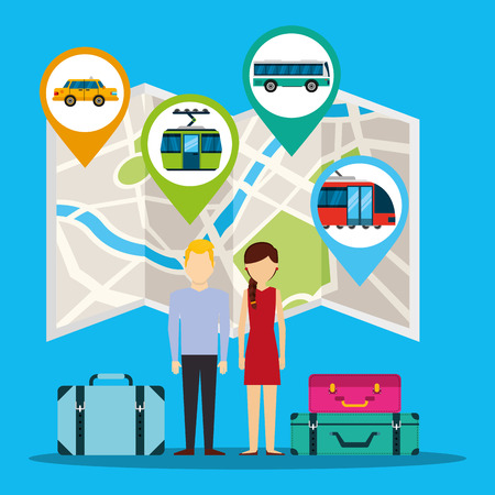 gps navigation transportation map locations couple with luggage vector illustration
