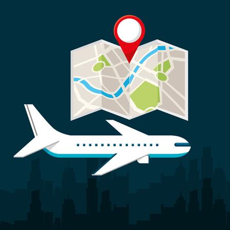 gps navigation transportation map airplane location vector illustration