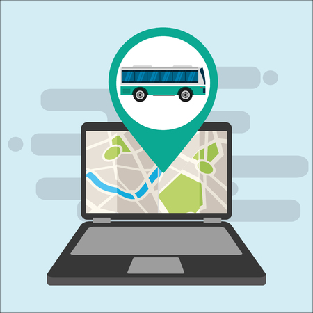 gps navigation transportation computer location bus map vector illustration