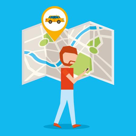 gps navigation transportation boy map location taxi vector illustration