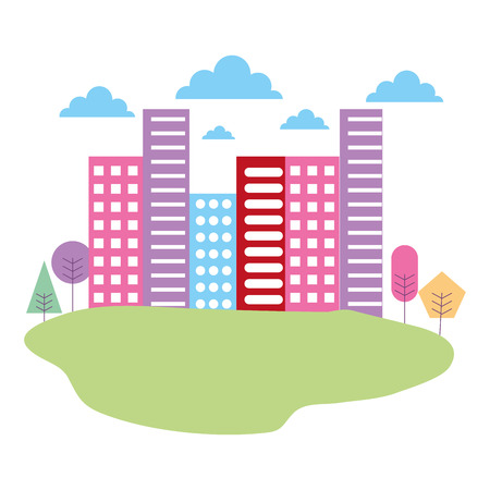 city building meadow nature trees landscape vector illustration