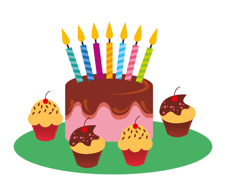 birthday cake with candles sweet cupcakes vector illustration Иллюстрация