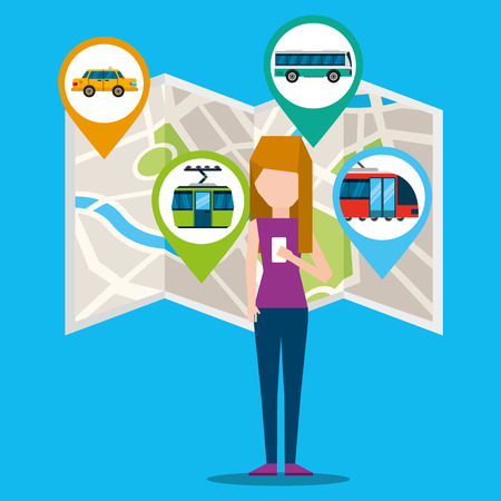 gps navigation transportation map locations bus cableway and meter girl search vector illustration Banco de Imagens - 109823986