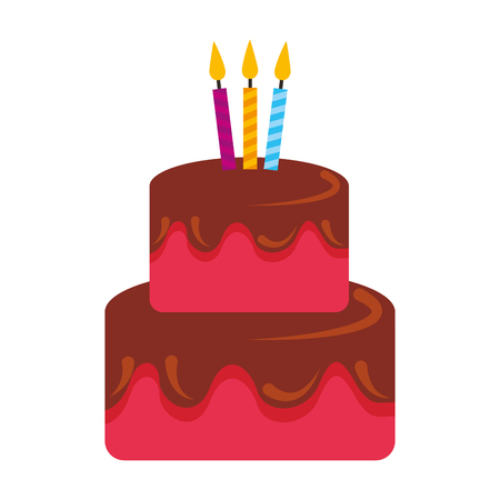 birthday cake sweet food with candles vector illustration