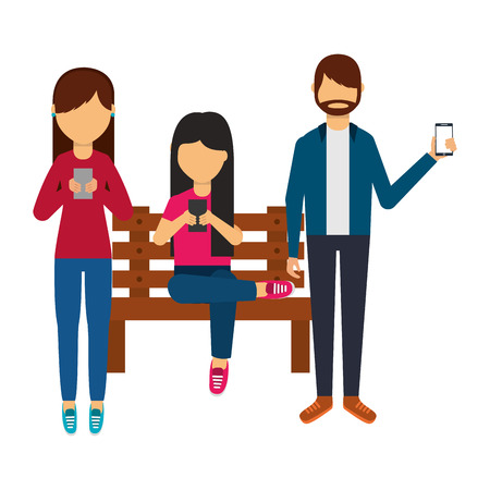 young people using smartphone on bench vector illustration Illusztráció