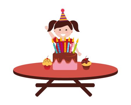 gâteau d'anniversaire fille heureuse avec des bougies sur l'illustration vectorielle de table