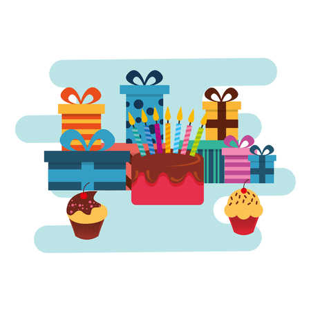 birthday gifts and sweet cake and cupcakes vector illustration