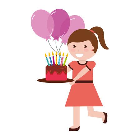 jolie fille tenant un gâteau d'anniversaire avec des bougies et des ballons vector illustration