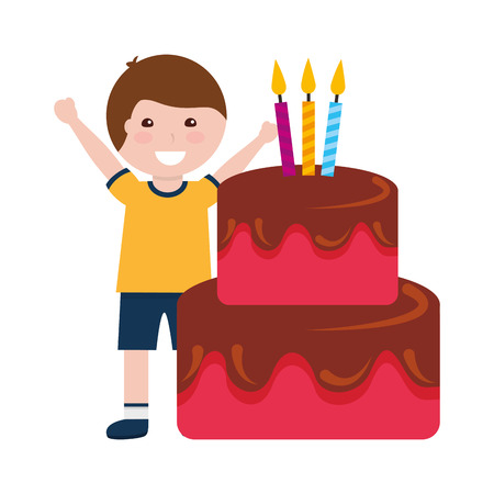 happy boy birthday cake with candles vector illustration