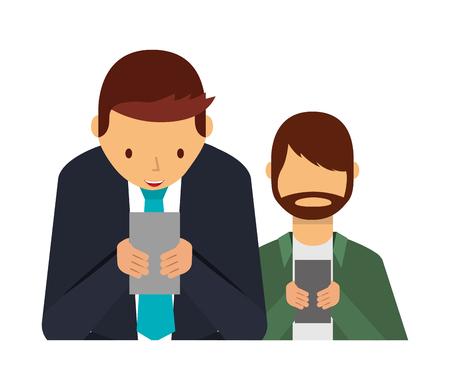 two men using smartphone addiction social media vector illustration 向量圖像