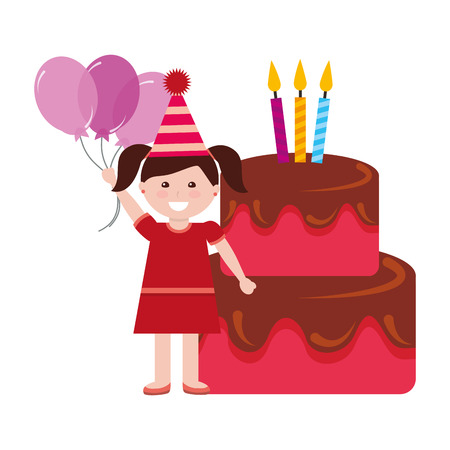 happy girl birthday cake with candles and balloons vector illustration