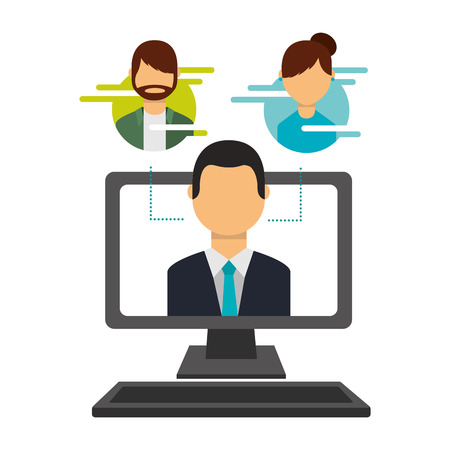 man on screen computer people social media vector illustration Banque d'images - 109824037