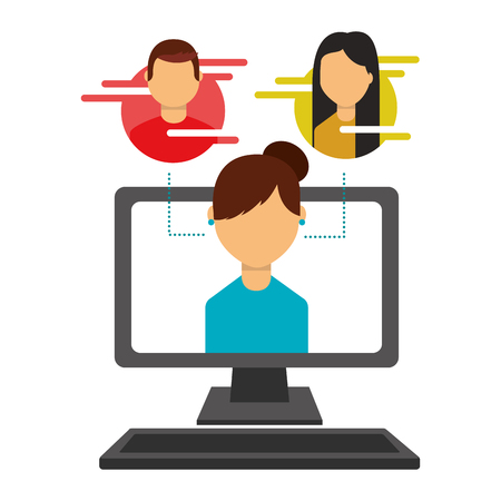 woman on screen computer people social media vector illustration Banque d'images - 109824038