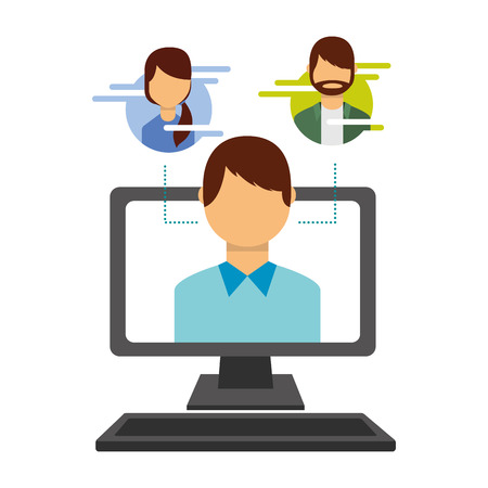man on screen computer people social media vector illustration