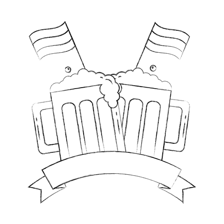 oktoberfest beers with flags emblem vector illustration hand drawing  イラスト・ベクター素材