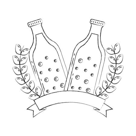 two bottle beers drink emblem banner vector illustration hand drawing