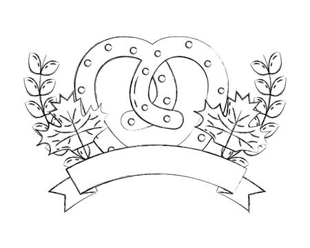 Pretzel snack foglie d'acero emblema illustrazione vettoriale disegno a mano Vettoriali