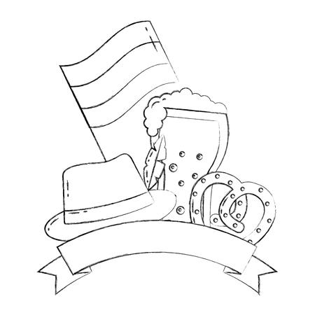 oktoberfest beer pretzel hat and flag germany emblem vector illustration hand drawing Stock Illustratie