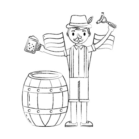 bavarian man with beer sausage and barrel festival vector illustration hand drawing Illustration