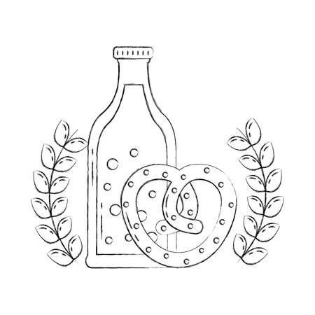 oktoberfest pretzel and beer bottle emblem vector illustration hand drawing