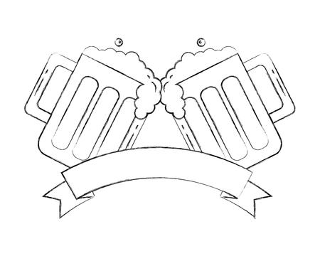 two beer glasses drink celebration emblem vector illustration hand drawing