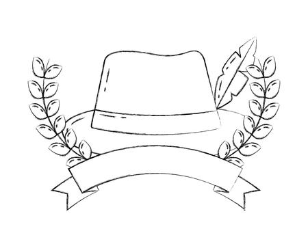 bavarian hat with feather emblem ribbon vector illustration hand drawing Illustration