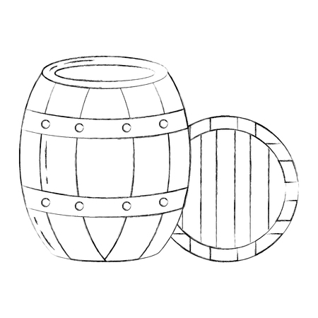 wooden barrel drink liquor rustic vector illustration hand drawing