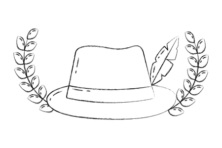 classic hat fedora feather emblem fashion vector illustration hand drawing