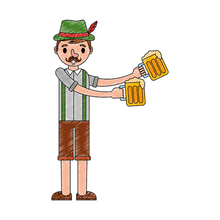 bavarian man holding two beer glasses vector illustration Çizim