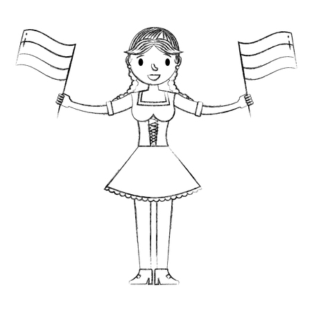 bavarian woman holding germany flags vector illustration hand drawing