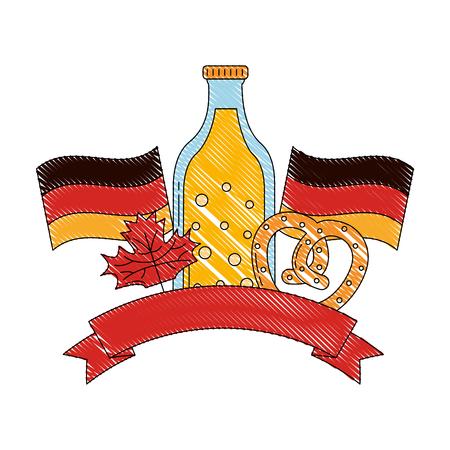 bottle beer flags pretzel and maple leaves symbol vector illustration