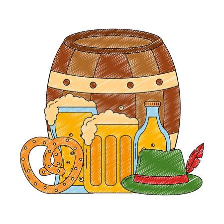 oktoberfest beers barrel pretzel and hat vector illustration Ilustração