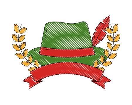 bavarian hat with feather emblem ribbon vector illustration Illustration