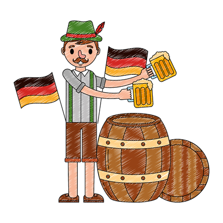 bavarian man with beers and barrel flags celebration vector illustration Illustration