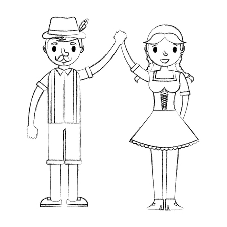 bavarian man and woman holding hands vector illustration hand drawing