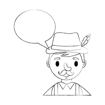 portrait bavarian man speech bubble vector illustration hand drawing