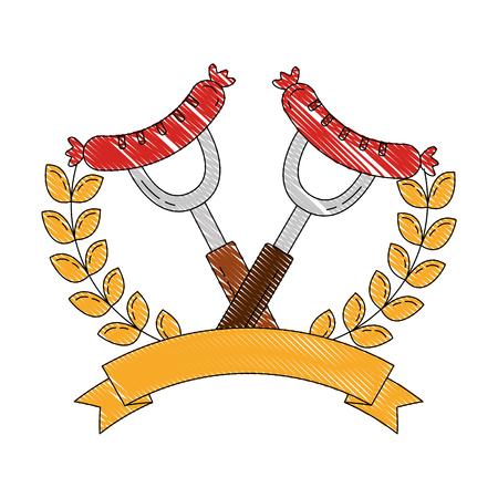 two sausage on forks food emblem vector illustration 向量圖像